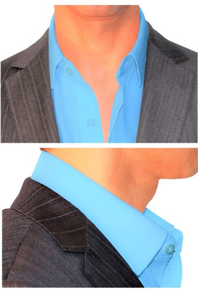 Stiff Collar Stay and Placket with Slick Collar